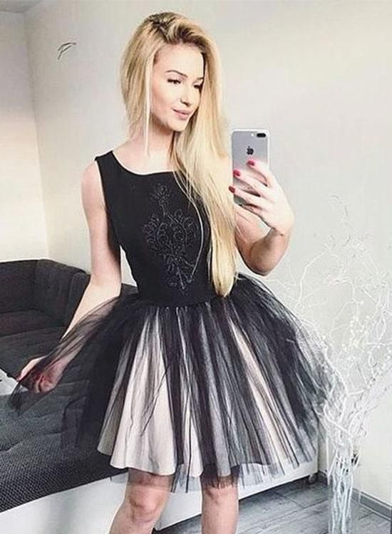 59bed73ecce Cute Black Round Neck Short Prom Dress