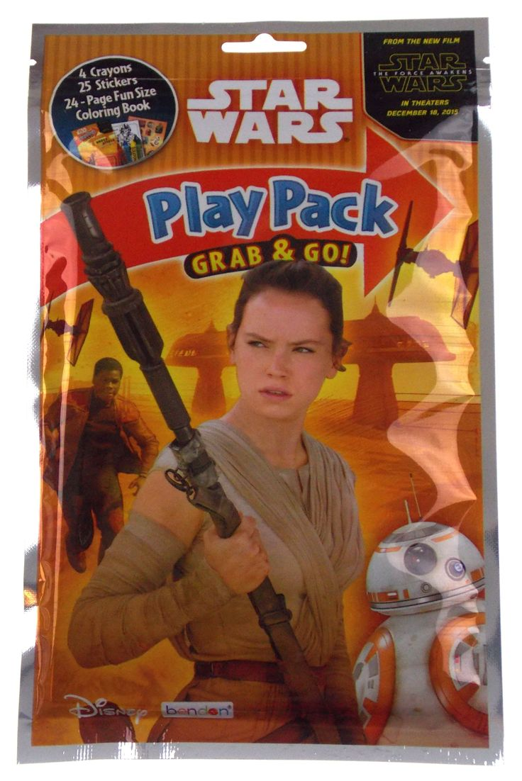 Star Wars Play Pack Rey Finn BB-8 Grab & Go Set 12 Coloring Book Crayons Stickers
