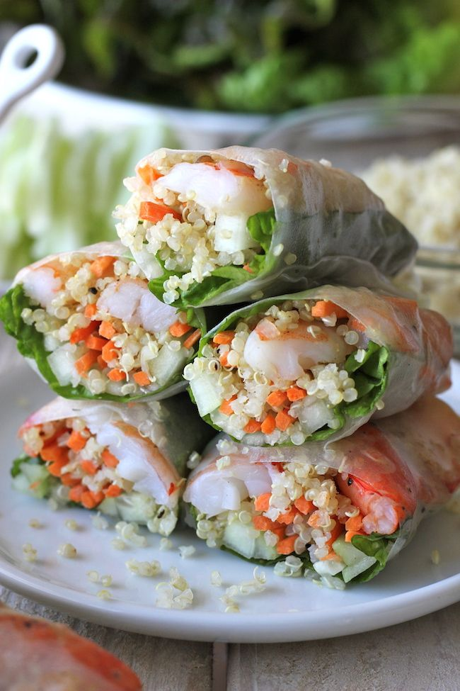 Substitute rice with quinoa for a #healthy at-home version of your favorite take out treat! This Roasted Shrimp Quinoa Spring Rolls #recipe is absolutely perfect for this week.