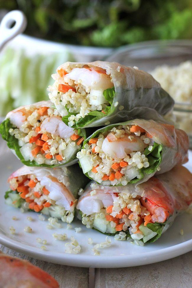 Ristede rejer Quinoa Spring Rolls - Quinoa er en vidunderlig protein-pakket erstatning for risnudler i disse nemme forårsruller!