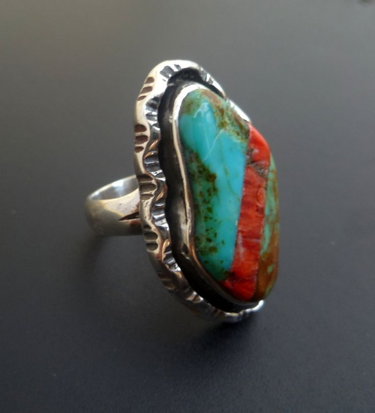 Rustic Inlay Statement Ring - Red Blue Green Statement Ring - One of a Kind Turquoise Inlay Ring - Contrasting Statement Ring - Size  8.4 by fishsilver on Etsy