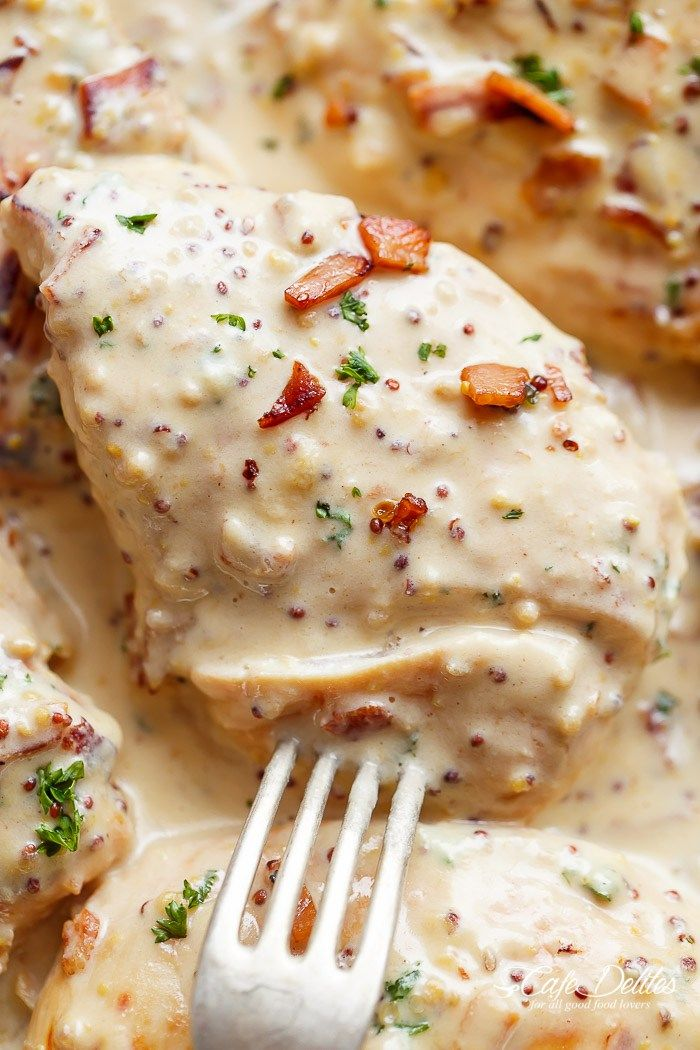 Creamy Honey Mustard Chicken With Bacon | http://cafedelites.stfi.re