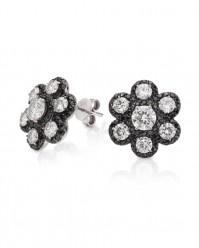 Etta - 2.00ctw Round Brilliant Moissanite Flower Earrings with Black Diamond Accents, 14K White Gold