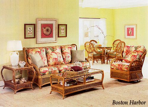 Boston Harbor Rattan Living Room Set   Beachcraft Furniture Living Room  Series 9074