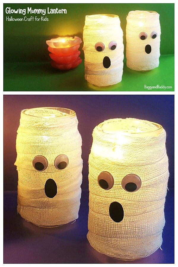 DIY Mason Jar Mummy Lantern Craft for Halloween