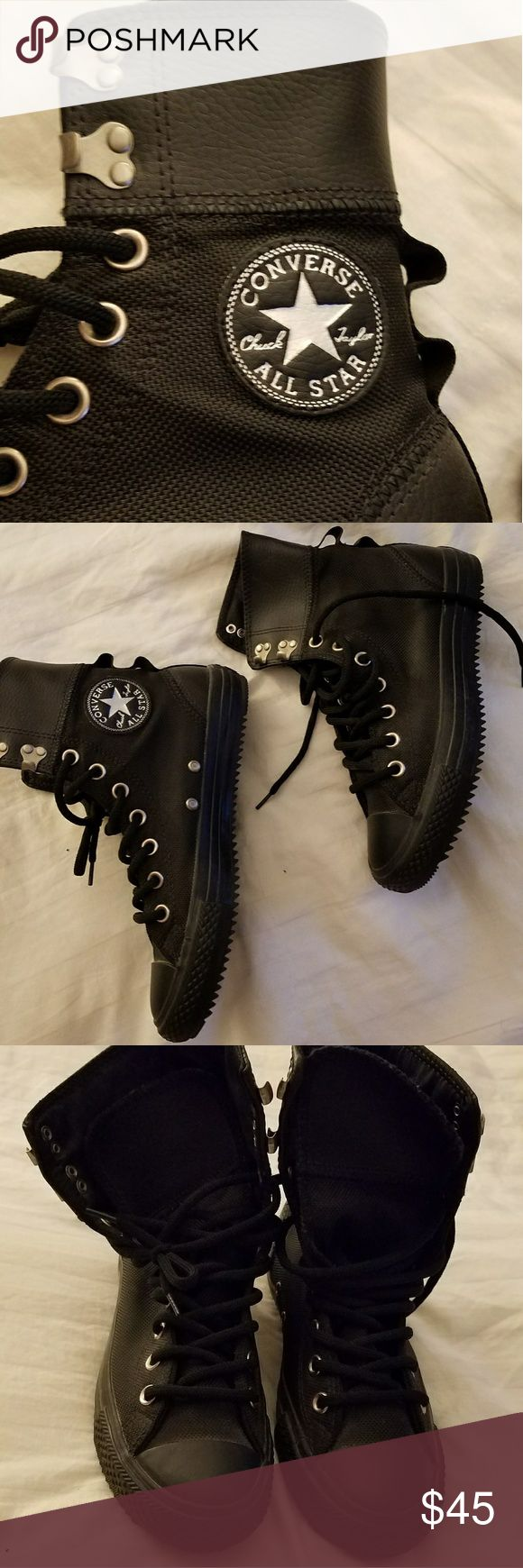 All black converse These are NWOT and box. Never been worn so perfect condition. The cuff is leather and the body of the shoe is canvas. They are an amazing shoe that will bring out the best in any edgy outfit! Converse Shoes Sneakers