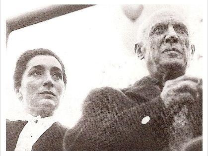 피카소와 그의 일곱 번째 연인이자 두 번째 부인 쟈클린 로크.