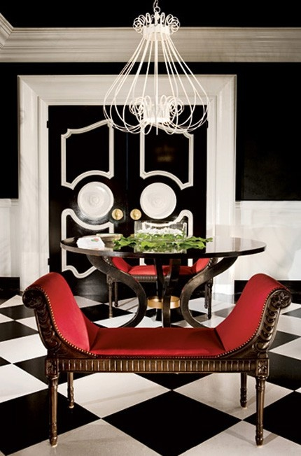 Bold, classic, and elegant, this black and white room gets a pop of hot color from a pair of upholstered red Empire benches  (via Glam, Glossy, Girly Decor Inspiration / #dorothy draper & company inc)