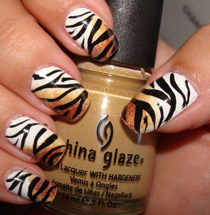 Tiger nails :) square tips though
