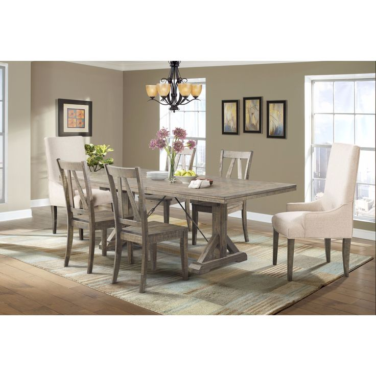 Picket House Furnishings Flynn 7PC Dining Set-Table, 4 Wooden Dining Chairs & 2 Parson Chairs (Flynn Dining Set), Brown, Size 7-Piece Sets