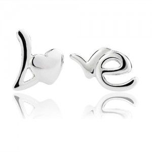 LOVE 925 Solid Sterling Silver Stud Earring 18K white gold plated