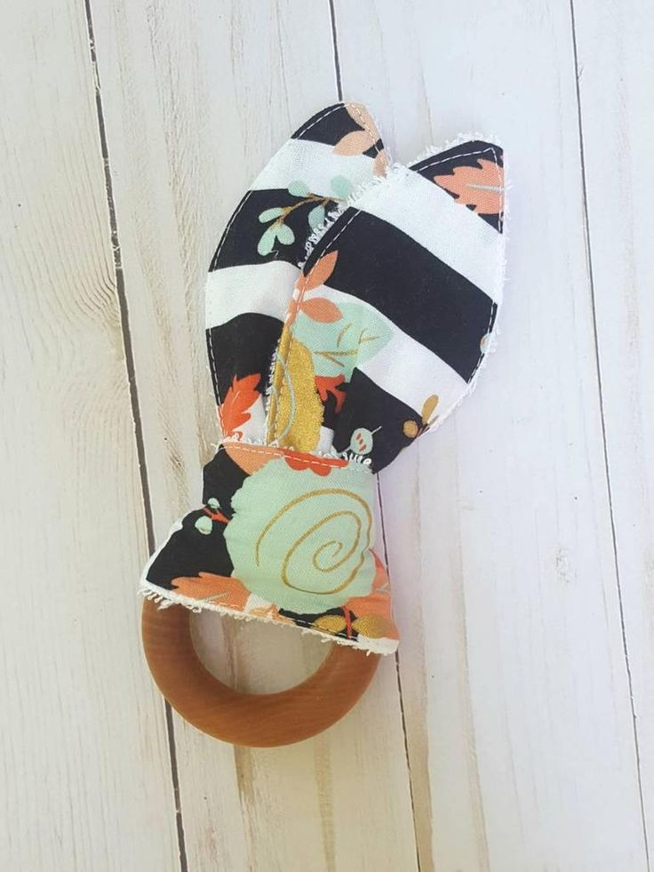 Baby Teething Ring- black and white rose teething toy, baby teether, coral and mint, modern baby, chic baby,  baby shower gift for baby girl