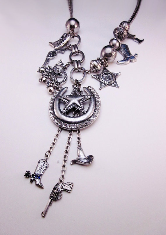 Country Cowboy & Cowgirl Charm Necklace Set by LOVEitCB on Etsy, $15.00