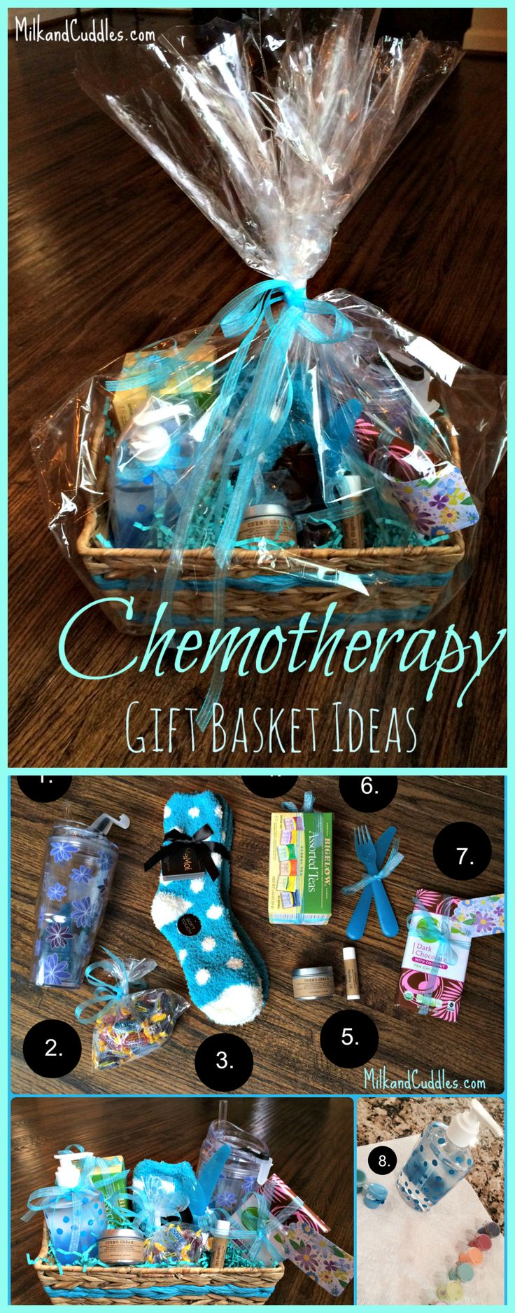 Wondering what gifts might be helpful to someone going through chemotherapy? This post gives you 8 Ideas for creating a Chemo Care Gift Basket!! Easy and helpful! #chemo