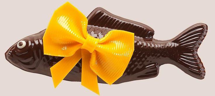 Poisson Nœud-Nœud Jaune - Poisson de Pâques en chocolat noir - Jean-Paul Hévin Chocolatier
