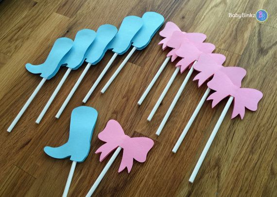 Cupcake Toppers: Boots or Bows Gender Reveal Party by BabyBinkz