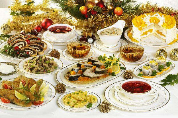 "Polish Christmas-Boże Narodzenie --traditional beet soup, herring, pierogis, poppy seed cake and a strange gelatin known as ""Nozki."" No meat makes veggie me love this meal more than any other!"