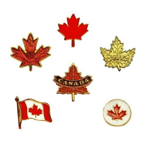 An assortment of Canada label pins - yes, they really are Made in Canada!