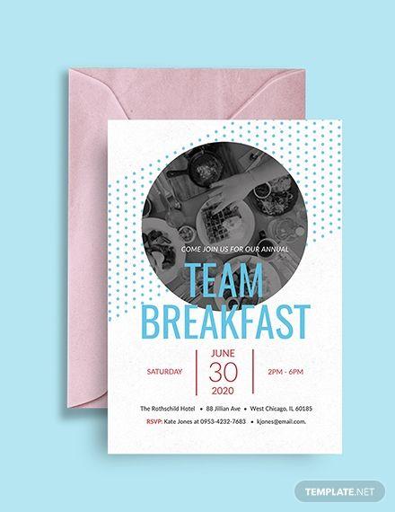 Free Team Breakfast Invitation Template