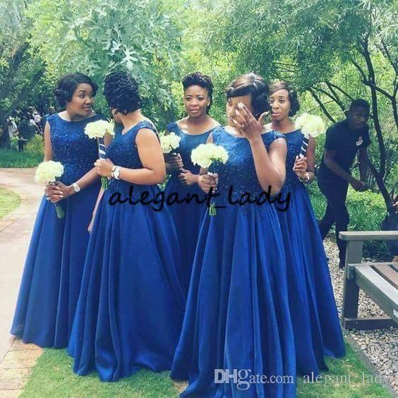 79739bc0c909b Royal Blue Plus Size Long Bridesmaid Dresses 2019 Modest Lace ...