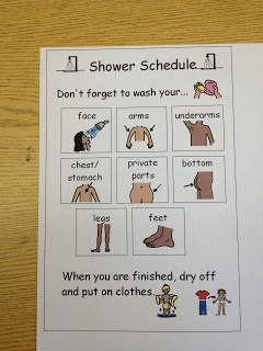 shower schedule for kids who need some visual reminders to aid in independence.
