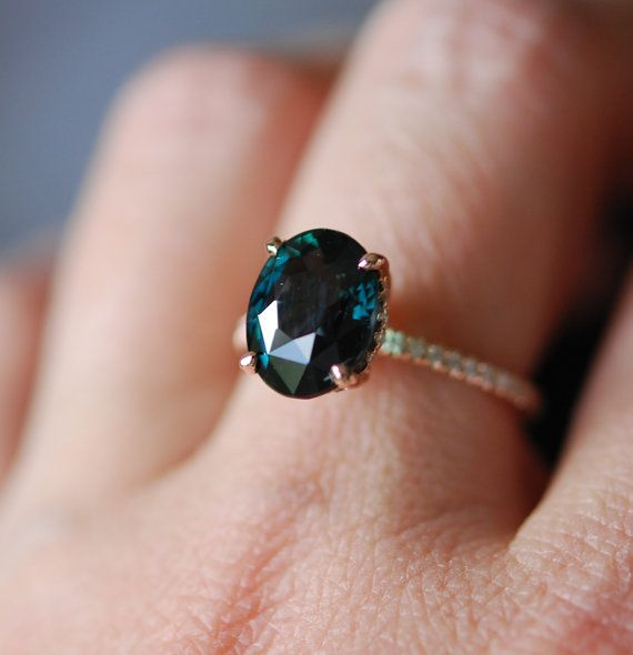 Peacock Green sapphire engagement ring. Peacock by EidelPrecious