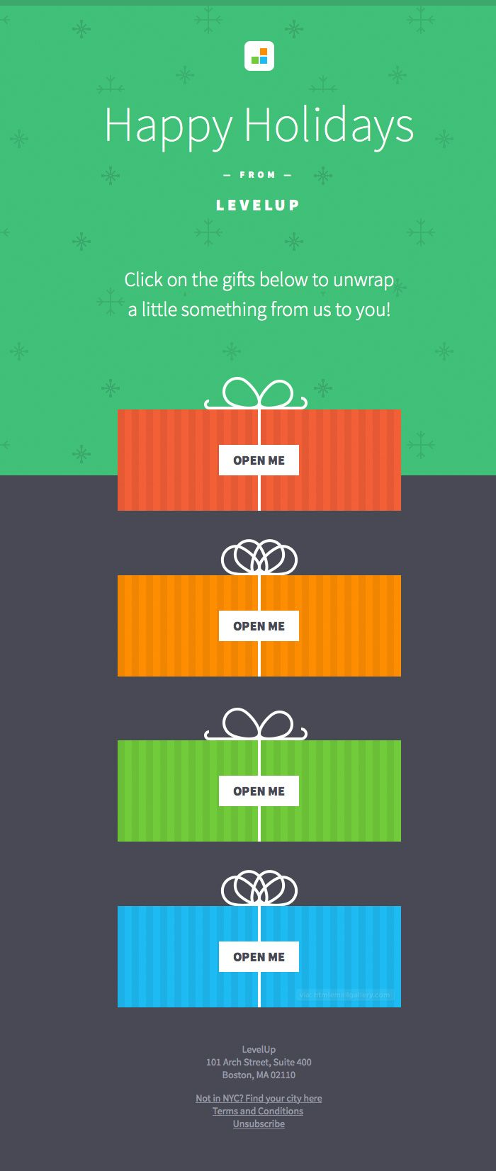 Levelup Happy Holidays Gift Email The Designer Pinterest Email
