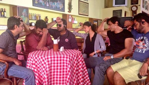 Off-screen #Drama... #SonuSood with #HNY #DirectionTeam! #HNYMoments!