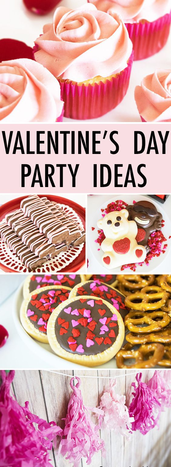 Throw a fun VALENTINE'S DAY PARTY with lots of pretty pink, white and red decor and many simple Valentine's day desserts and snacks ideas. Quick and easy party to set up. {Ad} From cakewhiz.com