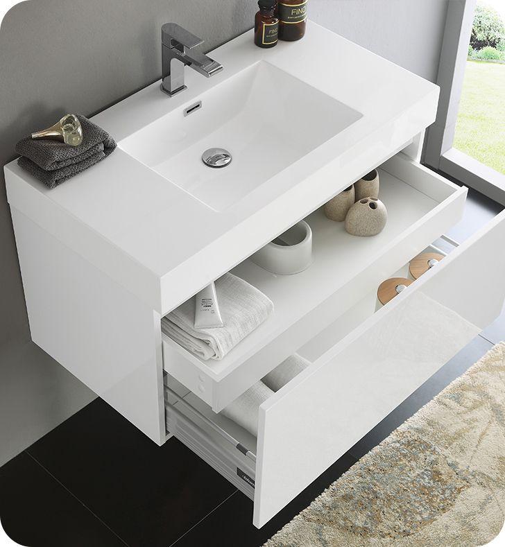 Mezzo White Modern Bathroom Vanity
