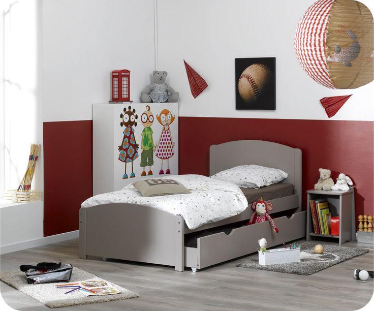 Cama juvenil, color Lino, 90x200 cm, con cajón/cama (opcional), Modelo NATURE
