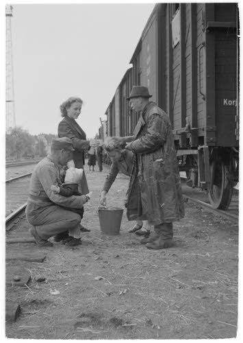 Evakoille jaetaan korviketta Riihimäen asemalla,  Riihimäki 27.6.1944. SA-kuva-arkisto.