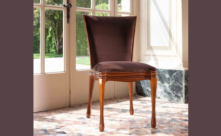Wendy - C'era una volta | Classic Collections Le Fablier | Padded chair fabric covered | Measures in cm (LxDxH) 54x61x94 | Structure in solid walnut | Available with leather upholstery