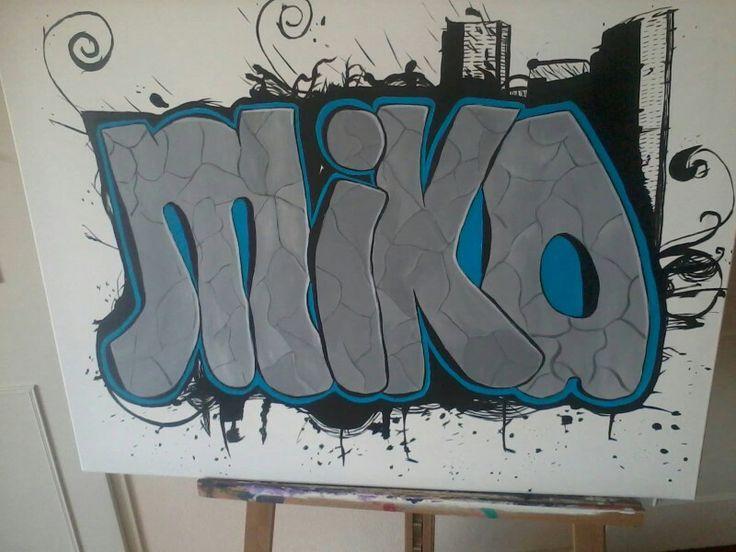 Graffiti op doek voor slaapkamer.