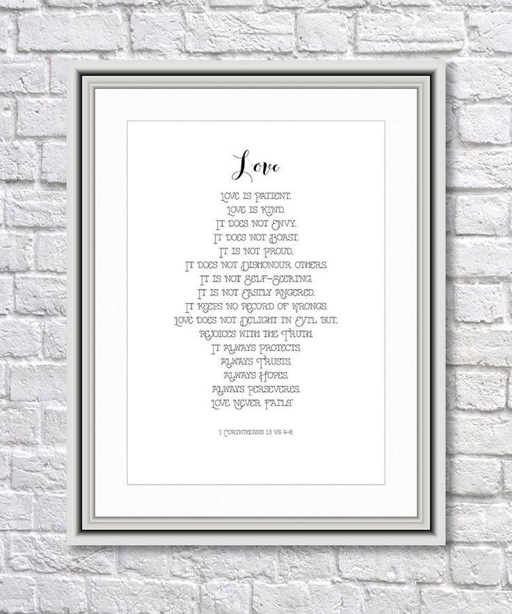 Wedding Print, Love is Patient, Love is Kind, Bible Print, Wedding Memento, Wedding Gift, Wedding Present, Printable Art, Digital Download by SBsPrintables on Etsy