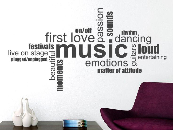 Inspirational Entdecken Sie bei uns die moderne Wandtattoo Music Wortwolke in englisch f r alle leidenschaftlichen Musiker und