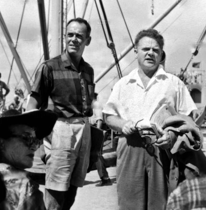 Henry Fonda and James Cagney on location in Hawaii during the production of Mister Roberts.