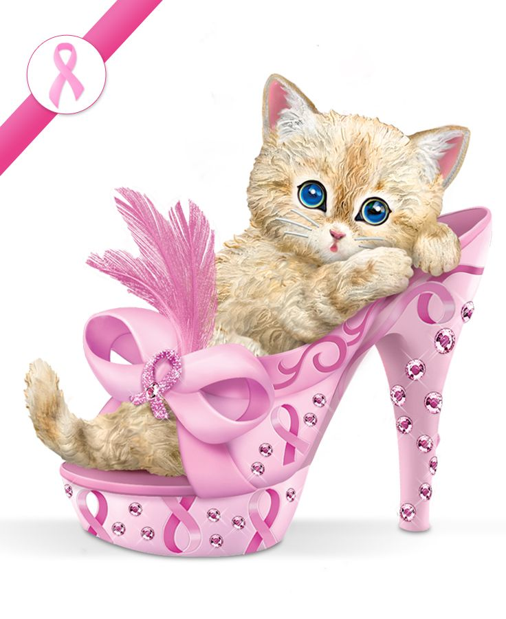 First-ever Kayomi Harai breast cancer support kitten figurine with simulated gems, real feathers, more.