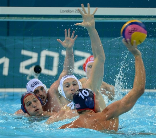Team USA dominated Team GB 13-7 in men's water polo