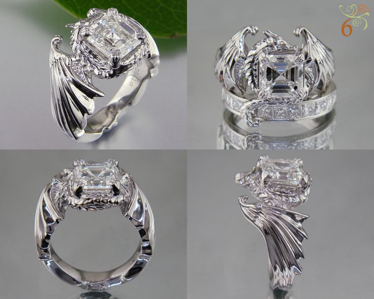 Dragon ring with asscher centerstone and its tail wrapped over the top of the wedding band #GreenLakeMade #DramaticDesign