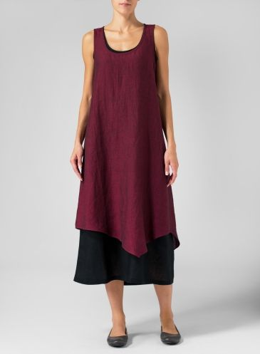 Linen Double Layered Long Dress With Linen Open Front Jacket Set