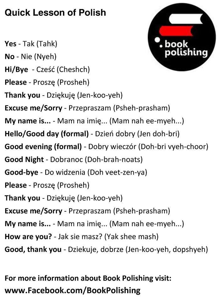 Polish: tak / nie... część... proszę / dziękuję ... przepraszam, mam na imię ... dzień dobry,  dobranoc!