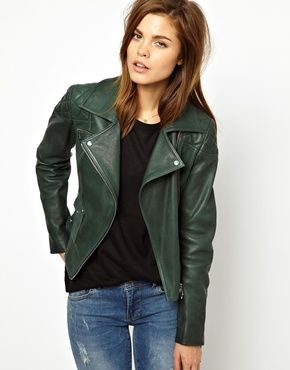 Dark Green Leather Jacket | Outdoor Jacket
