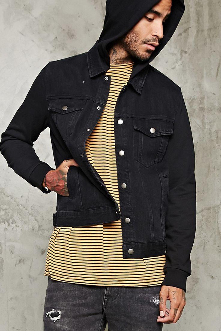 Hooded Denim Jacket - Men - Outerwear - 2000215404 - Forever 21 EU English