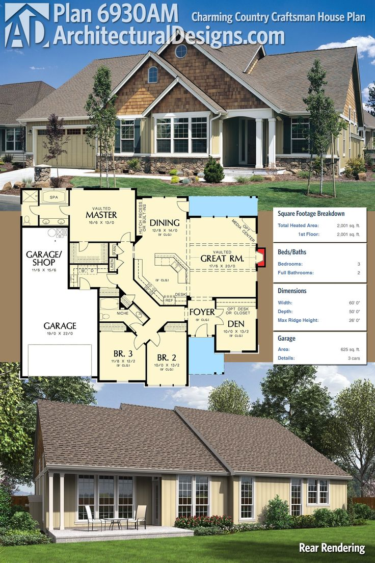 Architectural Designs Country Craftsman House Plan 6930AM gives you 3 beds, 2 baths and 2,000 square feet of heated living space to enjoy. Lots of photos of this one built! Ready when you are. Where do YOU want to build?