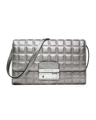 Michael Kors Gia Metallic Quilted Leather Clutch.
