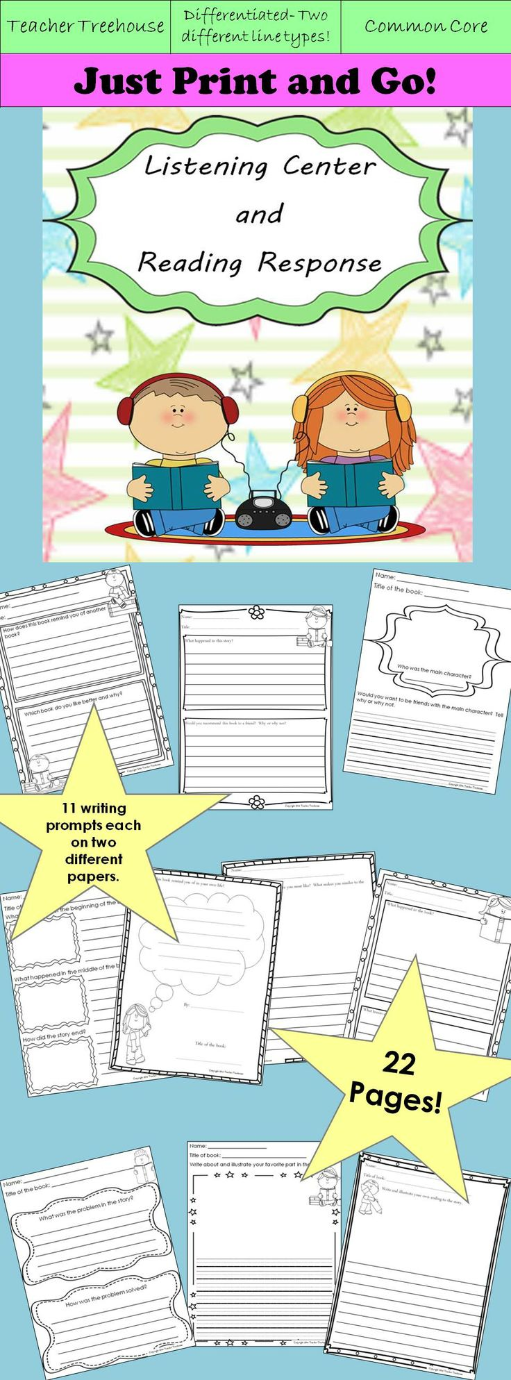 2 sets of 11 worksheets (22 worksheets in all) Use to hold students accountable at the listening center, book corner, and for reading homework. The two sets are identical, except that one set uses handwriting lines and the other set uses regular lines that are slightly closer together. Questions and prompts are for character, setting, plot, problem/solution, favorite part, write your own ending, lesson learned, authors purpose, text to self connection, and text to text connection.