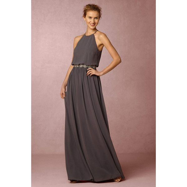 Anthropologie x BHLDN Alana Wedding Guest Dress (€205) ❤ liked on Polyvore featuring dresses, charcoal, fitted dresses, zipper back dress, chiffon dress, charcoal grey dress and charcoal gray dress