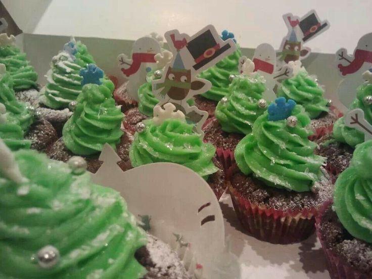 Kerstboomcupcakes