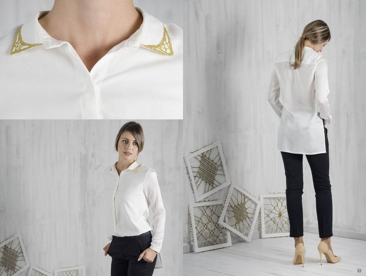 Bobbin lace, Pillow lace, gold collar shirt, handmade, traditional Greek handicraft, bamboo and soya fabric, sustainable fashion. www.ariadnesthread.gr